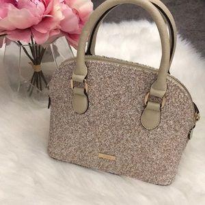 Aldo gold and cream glitter handbag